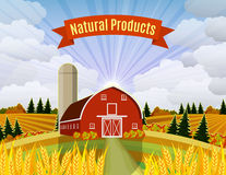 Cartoon beautiful fall farm scene Royalty Free Stock Photography