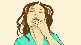 Cartoon Beautiful girl with closed eyes lick her fingers with pleasure. Beautiful girl with closed eyes lick her fingers. Vector sketch of woman brings the Stock Photo