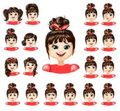 Cartoon Beautiful Girl Emotions Collection. With different expressions feelings and various hairstyles  vector illustration Royalty Free Stock Photos