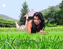Cartoon beautiful girl resting on the grass Royalty Free Stock Photos