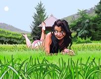 Cartoon beautiful girl resting on the grass Royalty Free Stock Photos