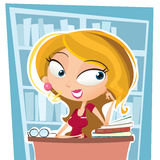 Cartoon beautiful librarian Stock Image