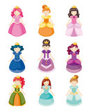 Cartoon beautiful princess icons set Royalty Free Stock Images