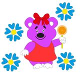 Cartoon beautiful Teddy bear with a bow. Cartoon beautiful bear with a bow holding a slice of orange in his paw Royalty Free Stock Photos