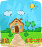 Cartoon Beautiful view of the countryside Royalty Free Stock Image