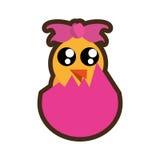 Cartoon beauty chicken in broken easter egg Stock Images