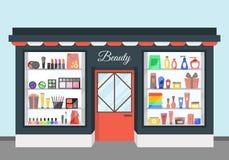 Cartoon Beauty Cosmetics Store. Vector vector illustration
