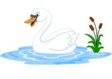Free Cartoon Beauty Swan Floats On Water Royalty Free Stock Image - 65446356