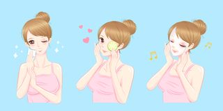 Beauty woman with skin care. Cartoon beauty woman with skin care on the blue background royalty free illustration