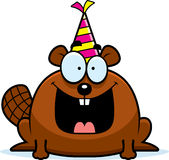 Cartoon Beaver Birthday Party. A cartoon illustration of a beaver with a party hat looking happy Royalty Free Stock Images