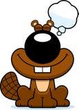 Cartoon Beaver Dreaming. A cartoon illustration of a beaver dreaming Stock Photos