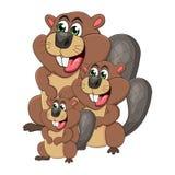 Cartoon beaver family isolated on white background.  Royalty Free Stock Photo