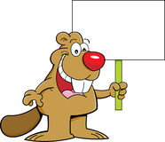 Cartoon beaver holding a sign Stock Image