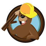 Cartoon beaver mascot in circle Stock Photo