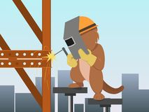 Cartoon beaver in mask welding metal construction Royalty Free Stock Photos