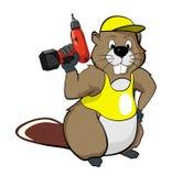 Cartoon beavers with a screwdriver stock illustration