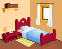 Cartoon bedroom interior. Red bed Royalty Free Stock Photography
