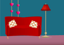 Cartoon bedroom with sofa, pillows and floor lamp Stock Images