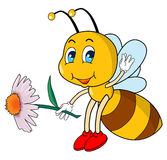 Cartoon bee. Little bee that holding a flower Royalty Free Stock Photos