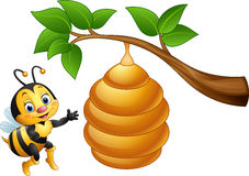 Cartoon bee and a beehive. Illustration of Cartoon bee and a beehive royalty free illustration