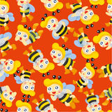 Cartoon bee boy seamless pattern Stock Image