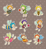 Cartoon bee boy stickers Stock Photo