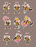 Cartoon bee boy stickers Royalty Free Stock Images