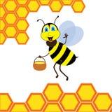 Cartoon bee with brimful jar Stock Photography