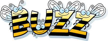 Cartoon Bee Buzz. A cartoon illustration of the word buzz with a bee theme Stock Photography
