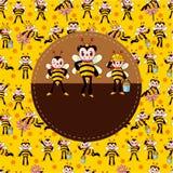 Cartoon bee card Royalty Free Stock Image