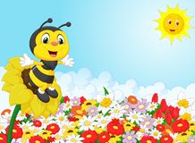 Cartoon bee cartoon sitting on the flower stock illustration