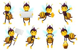 Cartoon bee character. Bees honey, flying cute honeybee and funny yellow bee mascot vector illustration set. Cartoon bee character. Bees honey, flying cute stock illustration