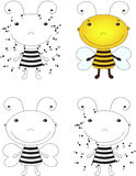 Cartoon bee. Coloring book and dot to dot game for kids Stock Photography
