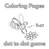 Cartoon Bee Coloring Book. Cartoon bee dot to dot game. Vector coloring book pages for children vector illustration