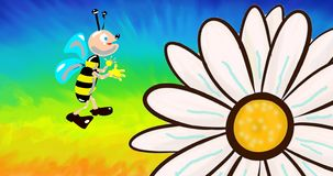 Cartoon bee and flower stock video