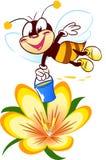 Cartoon bee on a flower Royalty Free Stock Photo