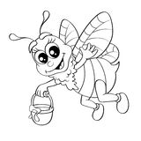 Cartoon bee flying with bucket honey Stock Photo