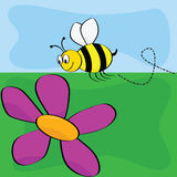 Cartoon bee flying near flower Stock Image