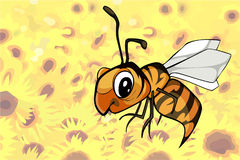 Cartoon bee flying over a field of flowers. Cartoon bee flying over field of flowers Stock Photos