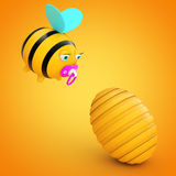Cartoon Bee in front of Beehive. 3d Rendering Stock Photo