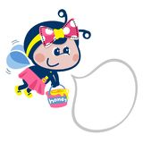 Cartoon bee girl flying on white background vector. Cartoon bee girl with speech bubble on white background illustration vector Royalty Free Stock Photo