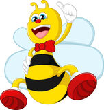 Cartoon bee giving thumb up Royalty Free Stock Photos