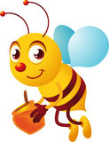 Cartoon Bee happily carrying honey pot. Cartoon bee carrying a jar of honey, happily flying  illustration Stock Photo