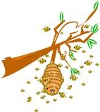 Cartoon bee hive Stock Photos