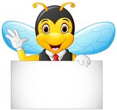 Cartoon bee hold blank sign Royalty Free Stock Photography