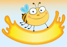 Cartoon bee that holds sheet for the text. Form ex Royalty Free Stock Image