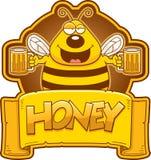 Cartoon Bee Honey Label Royalty Free Stock Photo