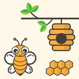 Cartoon bee with honeycomb and bee house Royalty Free Stock Photos