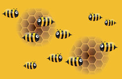 Cartoon bee and honeycomb. Illustration Royalty Free Stock Image