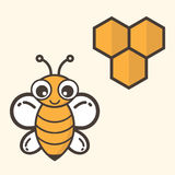 Cartoon bee and honeycomb Stock Photos